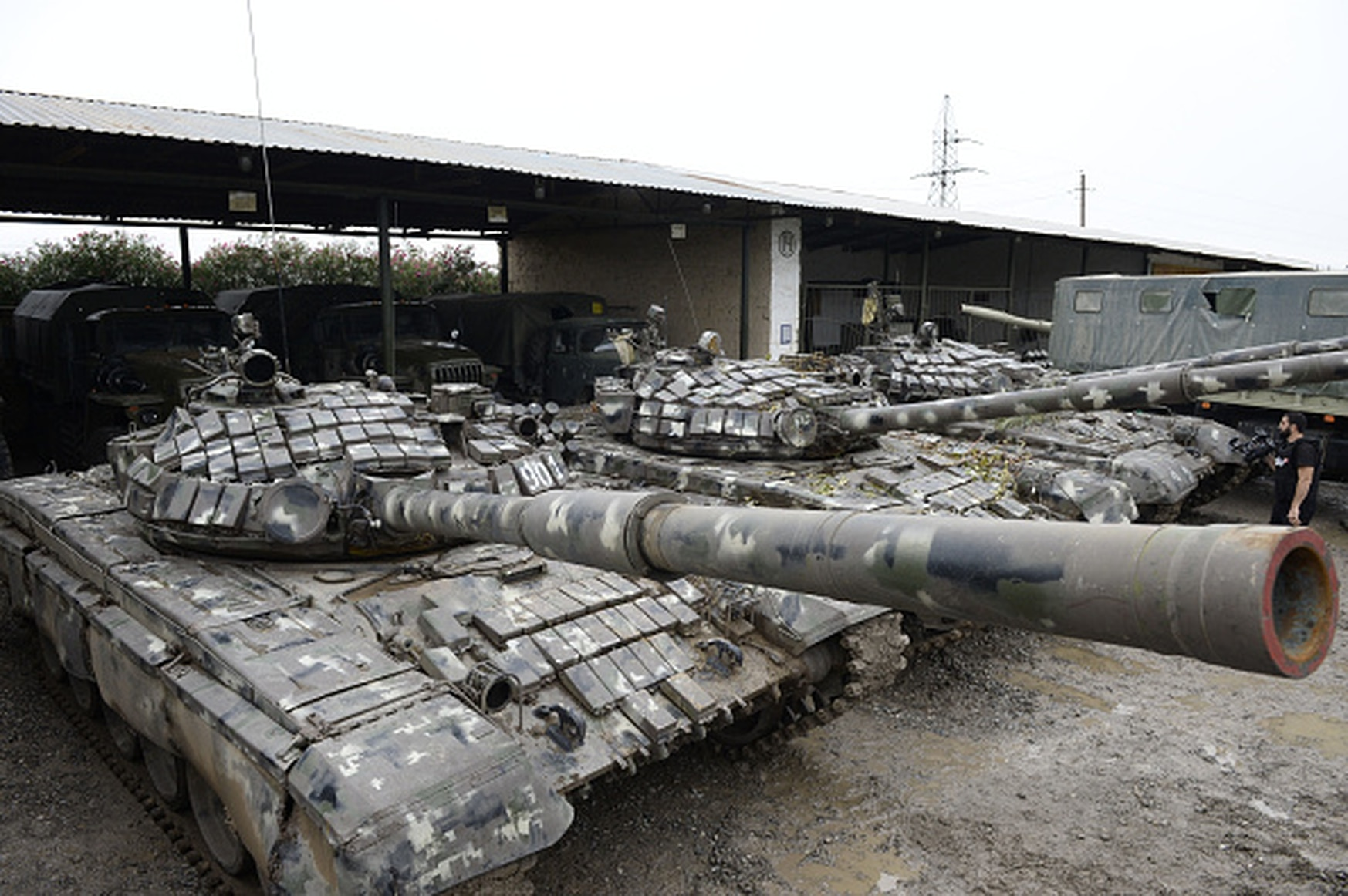Tanks are shown in the town of Beylagan on Oct. 5, 2020. Azeri military officials claim they were seized during the ongoing fighting with Armenia over the Nagorno-Karabakh region. (Tofik Babayev/AFP via Getty Images)