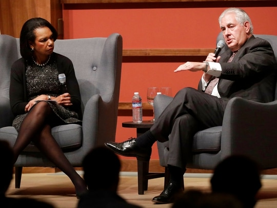 Secretary of State Rex Tillerson, right, speaks with former Secretary of State Condoleeza Rice at the Hoover Institution at Stanford University in Stanford, Calif., Wednesday, Jan. 17, 2018. (Jeff Chiu/AP)