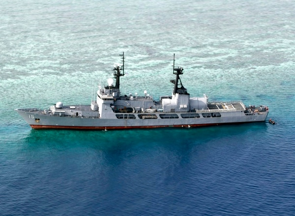 In this photo provided by the Armed Forces of the Philippines, the Philippine Navy ship BRP Gregorio del Pilar is seen after it ran aground during a routine patrol in the vicinity of Half Moon Shoal off the disputed Spratlys Group of islands in the South China Sea. The Philippine navy extricated one of its largest warships from the shoal where it ran aground in August near a hotly disputed region in the South China Sea. (Armed Forces of the Philippines via AP)