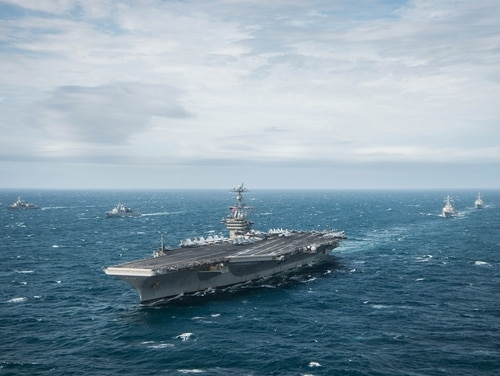 151117-N-DM308-710 ATLANTIC OCEAN (Nov. 17, 2015) The aircraft carrier USS George Washington (CVN 73) leads a formation while participating in UNITAS 2015. UNITAS 2015, the U.S. Navy's longest running annual multinational maritime exercise, is part of the Southern Seas deployment planned by U.S. Naval Forces Southern Command/U.S. 4th Fleet. This iteration of UNITAS is conducted in two phases: UNITAS PACIFIC, hosted by Chile in October 2015 and UNITAS Atlantic hosted by Brazil in Nov.. (U.S. Navy photo by Mass Communication Specialist 3rd Class Paul Archer/Released)
