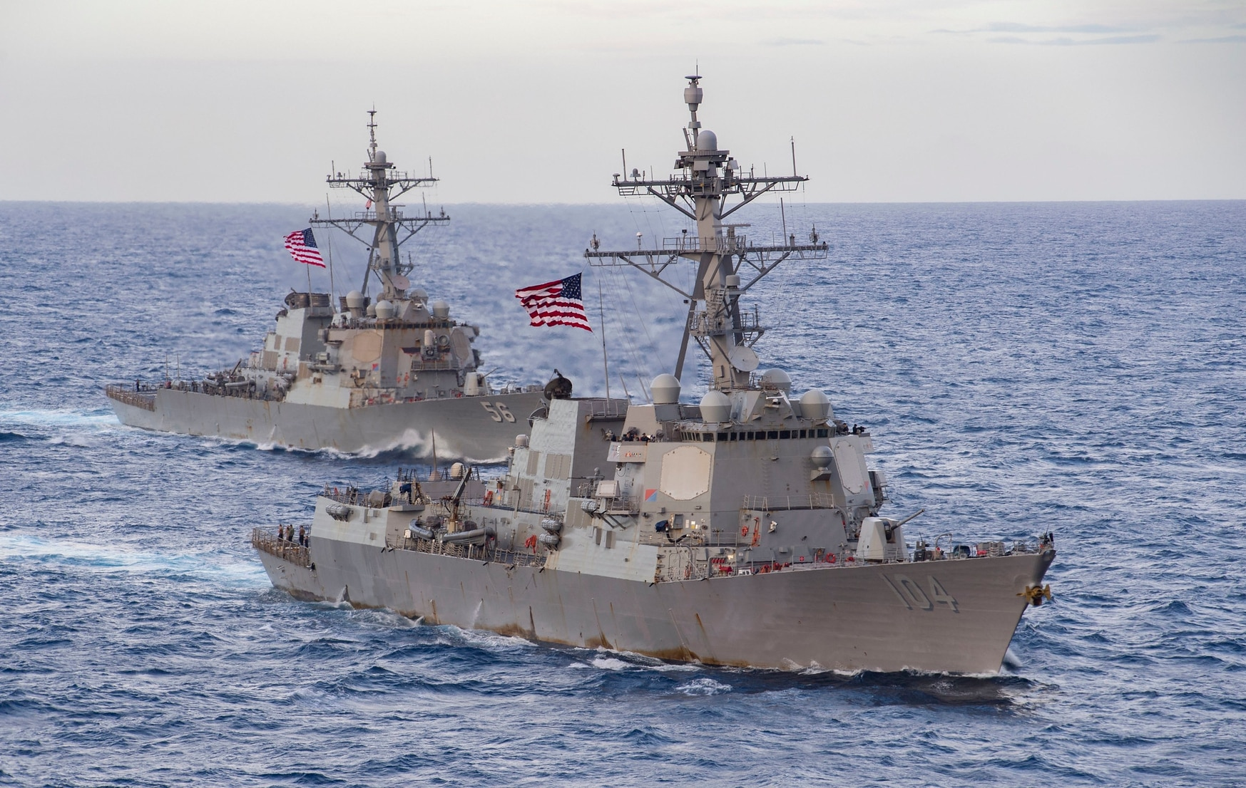 The U.S. Navy's guided-missile destroyers Sterett and John S. McCain transit the South China Sea. (MC3 Cheyenne Geletka/U.S. Navy)