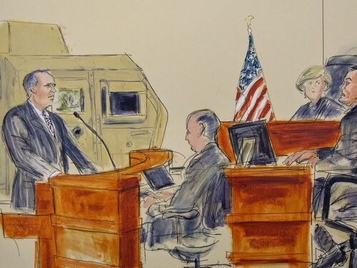 Lead attorney Gary Osen questions former Army Pfc. Robert Bartlett in federal court about his experience during an attack that severely wounded him, other soldiers and killed his friend Staff Sgt. William Brooks in May 2005. The trial is an effort to hold Iran accountable for their support of the bombings in Iraq. (Elizabeth Williams/Courtesy of Osen Law Firm)
