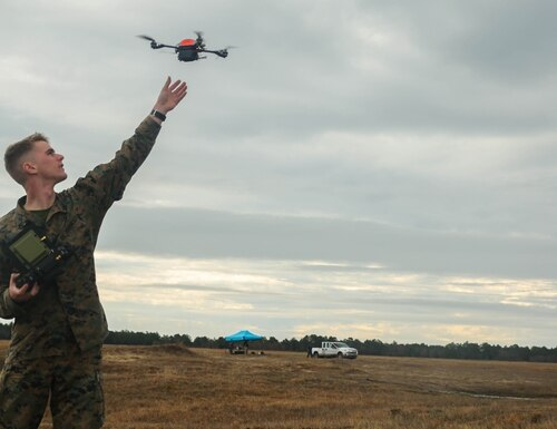 Through Blue sUAS, entities across the Department of Defense and federal government can now purchase small U.S.-manufactured drones. (Sgt. Lucas Hopkins/U.S. Marine Corps)