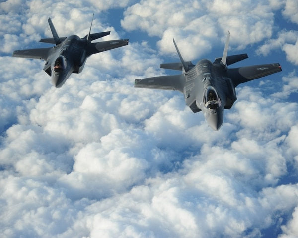 Two Israeli F-35 Adirs fly in formation in 2016. Israel is to receive 30 F-35s by 2024. (1st Lt. Erik D. Anthony/U.S. Air Force)