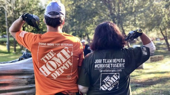 Home Depot associates spent 100,000 hours volunteering over the last seven weeks as the company geared up for an announcement that it would donate $500 million to veteran causes by 2025. (Home Depot Foundation)