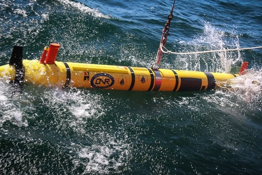 The Office of Naval Research launches a REMUS 600 autonomous underwater vehicle for mine search and identification operations off the coast of Bornholm Island during BALTOPS 2018. The U.S. Navy is among the nations participating in a drone exercise off the coast of Portugal this September. (MCC America Henry/(U.S. Navy)