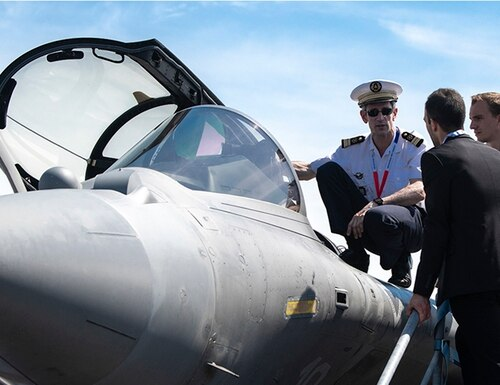 A French airman showcases a Dassault Rafale to an international audience at the 53rd Paris Air Show on June 18, 2019. Greece has expressed interest in the aircraft amid tensions with Turkey. (Sgt. Apolonia L. Gaspar/U.S. Army)