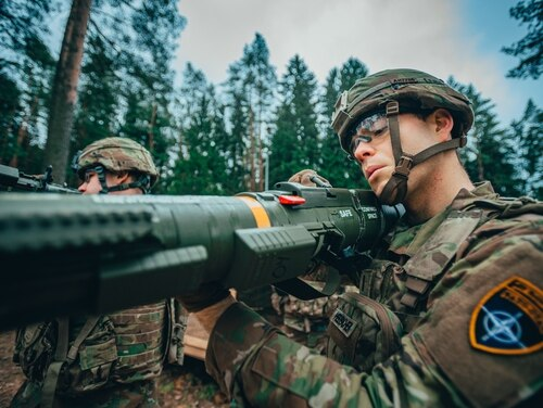 A 2nd Cavalry Regiment soldier handles an AT4 anti-tank rocket as part of EIB and ESB testing in Bemowo Piskie, Poland on March, 19, 2020. (Sgt. Timothy Hamlin/Army)