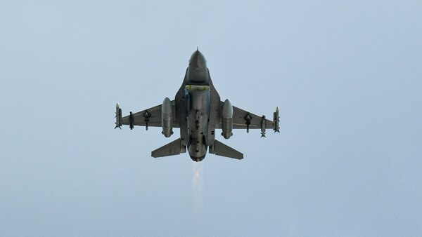 An F-16 takes off during a combat exercise at Hill Air Force Base, Utah, May 1. (R. Nial Bradshaw/Air Force)