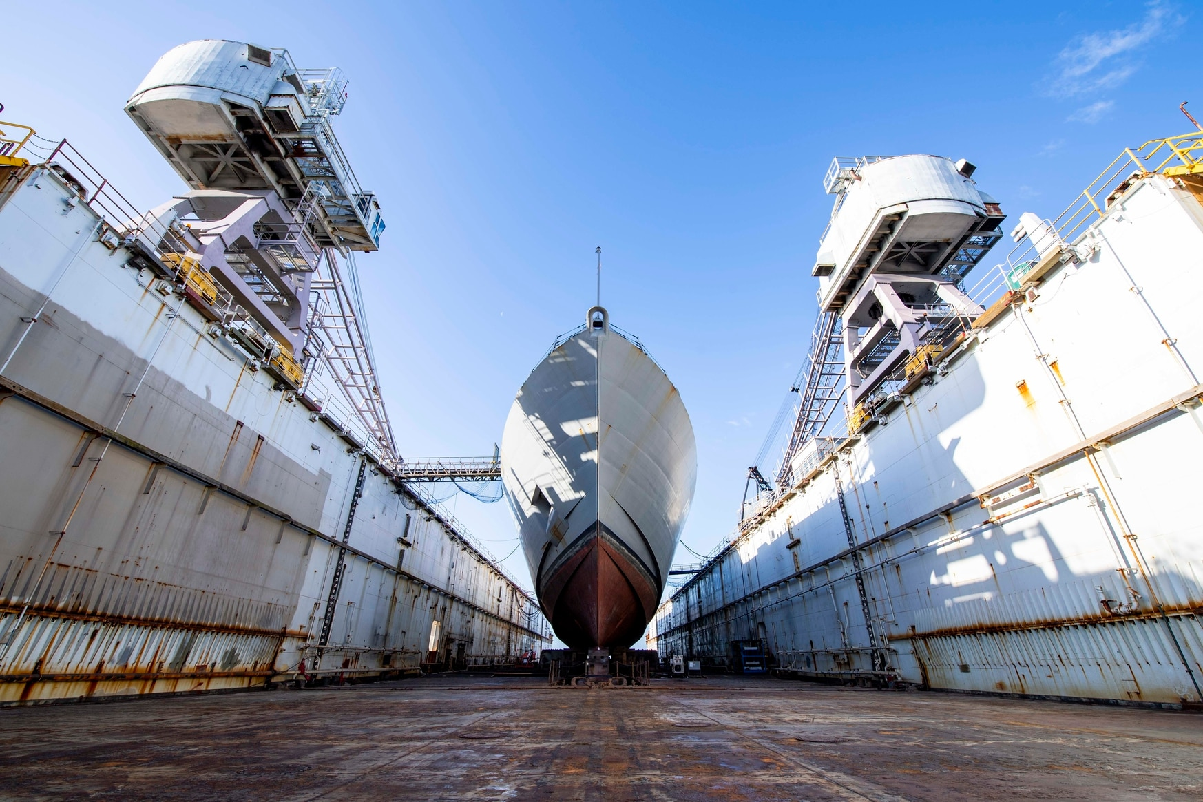 The Freedom-class littoral combat ship Detroit receives regularly scheduled maintenance at BAE Systems' shipyard in Jacksonville, Fla. $40 billion in cuts proposed by the acting secretary of the Navy could hit maintenance accounts hard. (MC3 Nathan T. Beard/U.S. Navy)