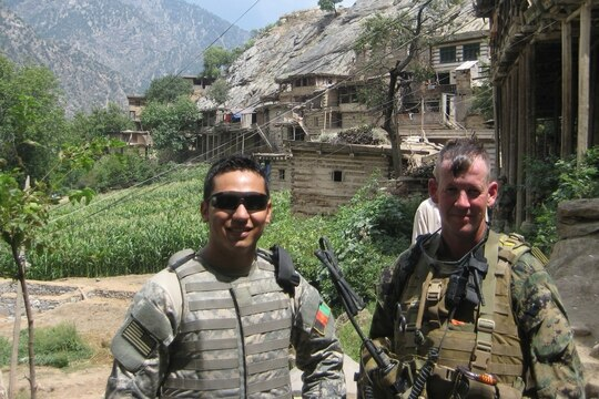 Afghan interpreter Hakimi Quadratullah (left) and then-Marine Lt. Col. Ty Edwards in Afghanistan. (Photo courtesy of Ty Edwards).