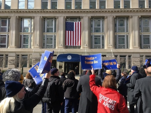 Members of the American Federation of Government Employees protest outside the Department of Veterans Affairs headquarters in Washington, D.C. on Feb. 13. The event was the latest in a series of high profile problems for department leaders. (Leo Shane III/Staff)