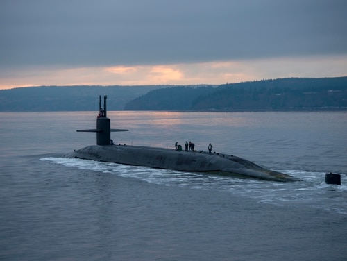 The ballistic missile submarine Pennsylvania transits the Hood Canal on Dec. 27, 2017, while returning to its homeport at Naval Base Kitsap-Bangor, Wash., following a routine strategic deterrent patrol. (Navy)
