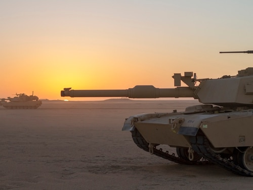 An M1 Abrams tank scans its sector at the Udairi Range Complex in Kuwait, Dec. 8, 2018. (Spc. Jovi Prevot/Army National Guard)