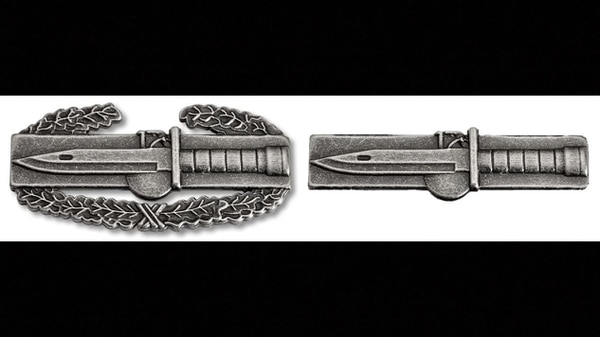 A mock-up of the Expert Soldier Badge, a wreathless version of its inspiration, the Combat Action Badge. (Army)