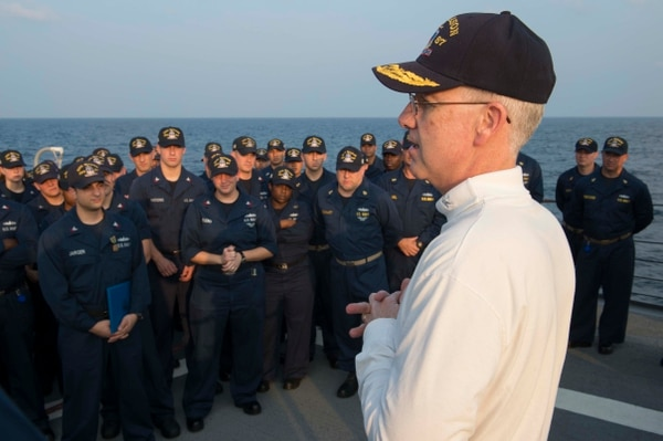 Rear Adm. Kevin M. Sweeney, commander of Carrier Strike Group 10 and Task Force 50, speaks with sailors during a visit aboard the guided-missile destroyer USS Mason (DDG 87). Mason is deployed as part of the Harry S. Truman Carrier Strike Group supporting maritime security operations and theater security cooperation efforts in the U.S. 5th Fleet area of responsibility. (U.S. Navy photo by Mass Communication Specialist 2nd Class Rob Aylward/Released)