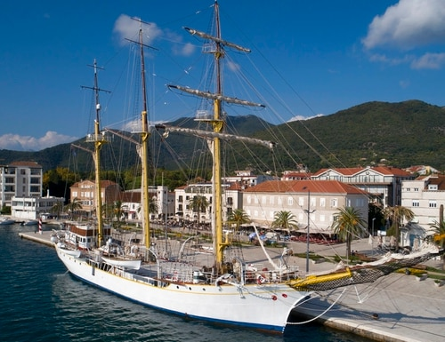 The training vessel 'Jadran' is moored in the port of Tivat, Montenegro. Montenegro and Croatia have resolved almost all of their differences more than two decades after fighting a war, except for one: an 85-year-old former Royal Yugoslav Navy training ship. The majestic sailing vessel called Jadran, or the Adriatic, is currently part of the Montenegrin naval fleet based in the port of Tivat. Croatia is demanding the return of the tall ship, which Montenegro adamantly refuses to do. (Darko Bandic/AP)