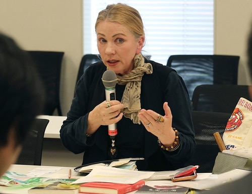 Catherine Fisher of Australia speaks during a meeting with Japanese government officials in Tokyo, Friday, April 6, 2018. Fisher says she was raped by a U.S. sailor in Japan is demanding Tokyo do more to protect victims of U.S. military personnel stationed here. (Koji Sasahara/AP)