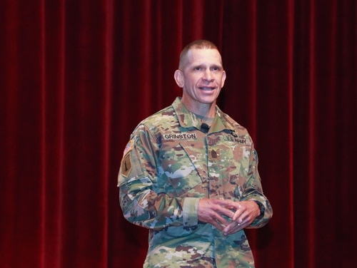 Sergeant Major of the Army Michael Grinston talks to Army leaders during the Maneuver Warfighter Conference at Fort Benning, Ga., in September 2019. (Markeith Horace/Army)