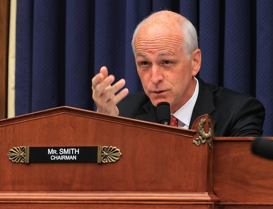 House Armed Services Committee Chairman Adam Smith questions witnesses about the fiscal 2022 defense budget request on June 29 during a hearing on Capitol Hill. (Chip Somodevilla/Getty Images)