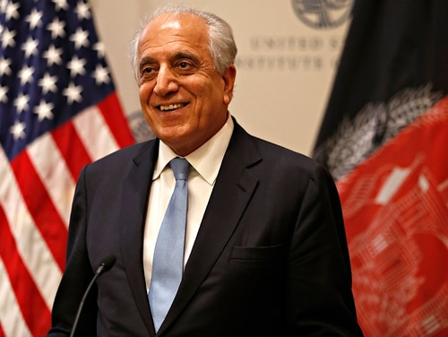 Special Representative for Afghanistan Reconciliation Zalmay Khalilzad approaches the microphone to speak on the prospects for peace, Friday, Feb. 8, 2019, at the U.S. Institute of Peace, in Washington. (Jacquelyn Martin/AP)
