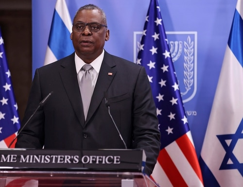 U.S. Defense Secretary Lloyd Austin and Israeli Prime Minister Benjamin Netanyahu give statements after their meeting at the prime minister's office in Jerusalem, Monday, April 12, 2021. (Menahem Kahana/Pool via AP)