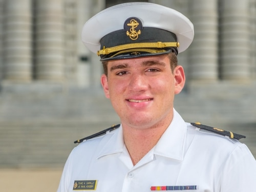 Duke Carrillo, 21, of Flower Mound, Texas, collapsed and died during the 1.5-mile run portion of the Navy's semi-annual physical readiness test. (Navy)