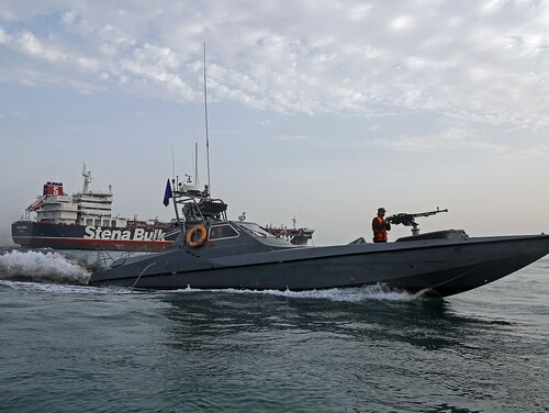 Iran's Revolutionary Guard patrols around the British-flagged tanker Stena Impero on July 21, 2019, as it was anchored off the Iranian port city of Bandar Abbas. (Hasan Shirvani/AFP via Getty Images)