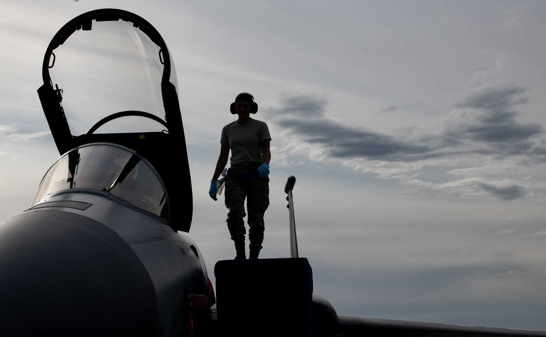 An airman from the 44th Aircraft Maintenance Squadron conducts a post-flight check on an F-15C Eagle with the 44th Fighter Squadron at Kadena Air Base, Japan, May 14. The aircraft had a mission-capable rate of 71.5 percent in fiscal 2018, one of the best in the fleet. (Staff Sgt. Micaiah Anthony/Air Force)