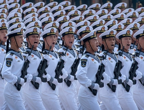 Chinese navy sailors march in formation during a parade to celebrate the 70th anniversary of the founding of the People's Republic of China at Tiananmen Square in 1949, on Oct. 1, 2019, in Beijing. (Kevin Frayer/Getty Images)
