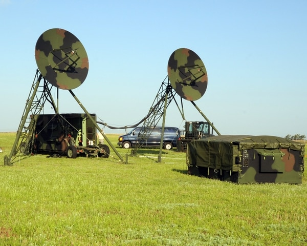 A Tropospheric Scatter Microwave Radio Terminal (TRC-170) from the 31st Combat Communication Squadron, Tinker Air Force Base, Okla., is positioned in a field during an exercise here May 1, 2012. During the exercise Airmen from the 31st and 34th CCS assembled two TRC-170s, which transmitted a signal to Tinker AFB to test the range of the system. The exercise took place April 30 through May 4.