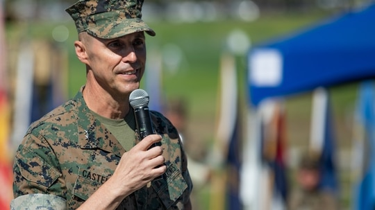 Maj. Gen. Robert F. Castellvi, the then -outgoing commanding general of the 1st Marine Division, speaks during a change of command ceremony held at Marine Corps Base Camp Pendleton, California, Sept. 22, 2020. (Cpl. Jailine L. AliceaSantiago/Marine Corps)