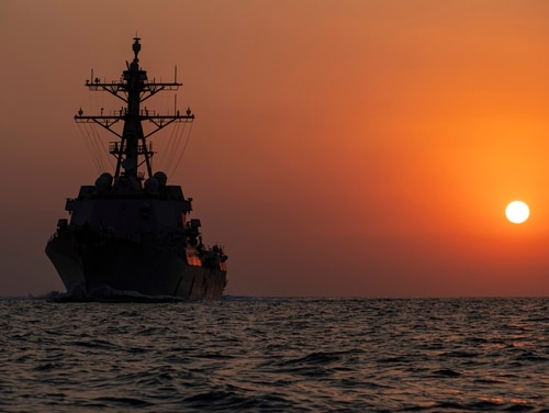The destroyer Sterett steams in the Arabian Gulf. The Navy's surface fleet is struggling against declining readiness, an inspection report shows. (MCSN Drace Wilson/U.S. Navy)