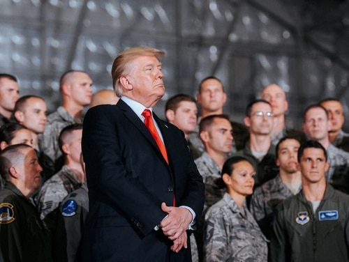 President Donald Trump prepares to address the troops at Joint Base Andrews, Md., Sept. 15. (Senior Airman Delano Scott/Air Force)