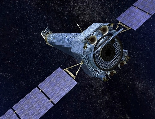 This illustration made available by NASA shows the Chandra X-ray Observatory. On Friday, Oct. 12, 2018, the space agency said that the telescope automatically went into so-called safe mode on Wednesday, possibly because of a gyroscope problem. (NASA/CXC/SAO via AP)