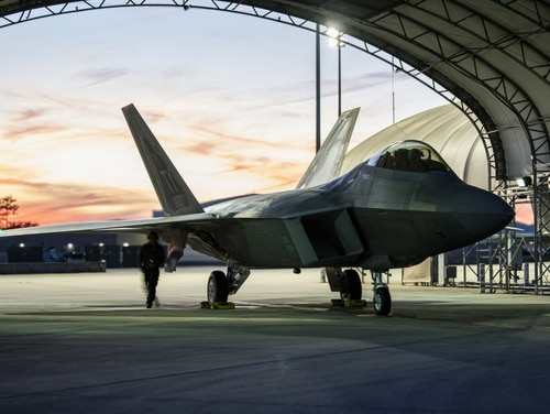 A U.S. Air Force F-22 Raptor assigned to the 325th Fighter Wing undergoes pre-flight checks at Eglin Air Force Base, Florida, Jan. 28. An F-22 assigned to the wing suffered an in-flight emergency and a ground mishap at Eglin on Monday. (Staff Sgt. Stefan Alvarez/Air Force)