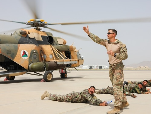 Soldiers with the 1st Security Force Assistance Brigade conduct medical evacuation training with their Afghan counterparts. (Army)