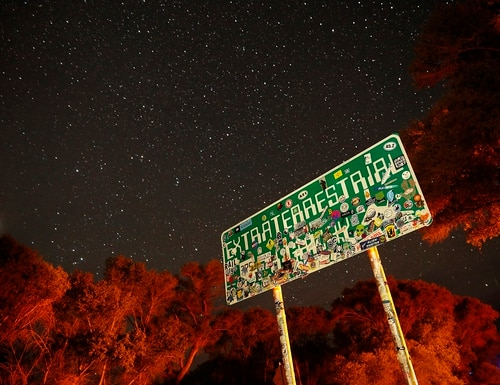 In this July 22, 2019, photo, a sign advertises state route 375 as the Extraterrestrial Highway, in Crystal Springs, Nev. The road boarders the Nevada Test and Training Range, the location of Area 51. (John Locher/AP)