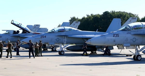 In preparation of the arrival of Hurricane Florence, F/A-18E Super Hornets prepare to evacuate Naval Air Station Oceana, Va., on Sept. 12, 2018, to ensure personnel safety and prevent damage to Navy assets as a proactive measure. (MC2 Ruben Reed/Navy)