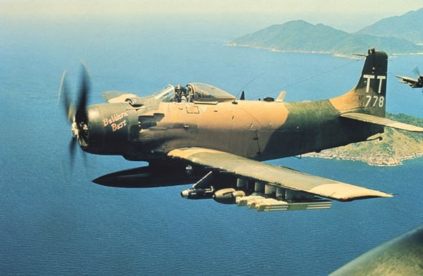 A Douglas A-1H Skyraider of the 602nd Special Operations Squadron is in flight over Vietnam in June 1970. (U.S. Air Force)