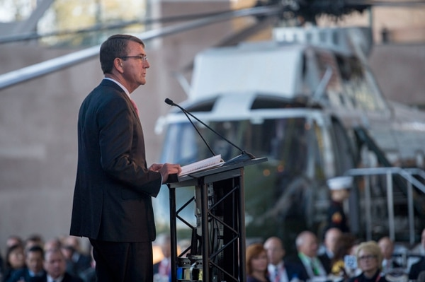 Secretary of Defense Ash Carter delivers remarks at the 3rd annual Reagan National Defense Forum at the Ronald Reagan Presidential Library in Simi Valley, Calif., Nov. 7, 2015. (Photo by Senior Master Sgt. Adrian Cadiz)(Released)