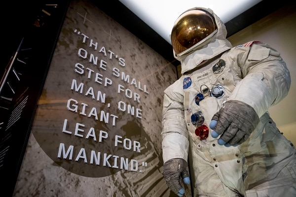 Neil Armstrong's Apollo 11 spacesuit is unveiled at the Smithsonian's National Air and Space Museum on the National Mall in Washington, Tuesday, July 16, 2019. (Andrew Harnik/AP)