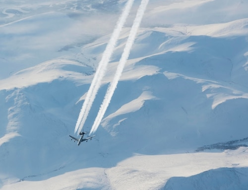 North American Aerospace Defense Command conducts an E-3 Sentry mission to the high Arctic supported by KC-135 Stratotankers. The mission was to demonstrate America and Canada's ability to detect threats through Arctic avenues of approach to North America. (North American Aerospace Defense Command)