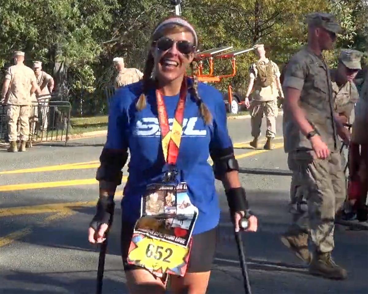 Recon Marine's girlfriend finishes marathon on crutches