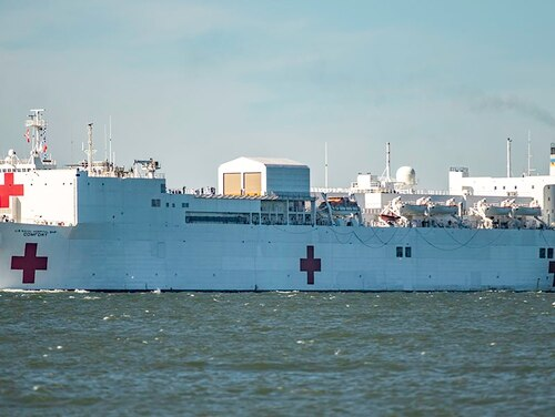 The hospital ship Comfort departed Naval Station Norfolk on a five-month cruise to Latin America on Friday. (Mark D. Faram/Staff)