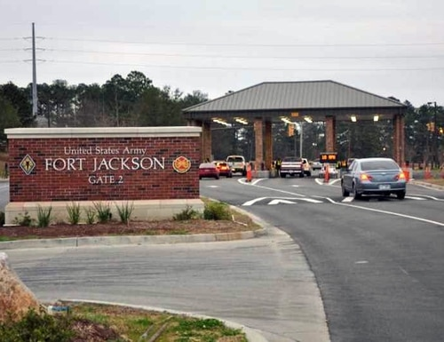A gate onto Fort Jackson, S.C., is pictured here. (Army)