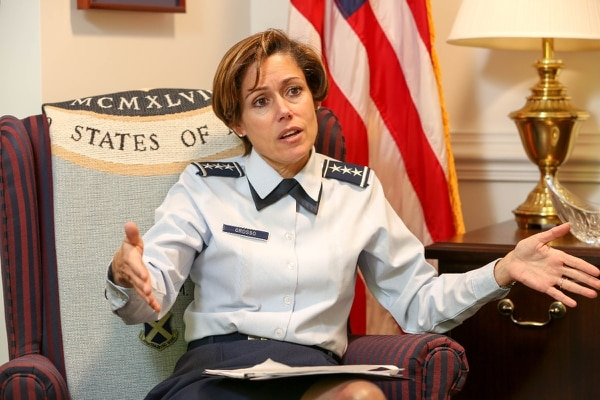 Lt. Gen. Gina M. Grosso, Deputy Chief of Staff for Manpower, Personnel and Services, for the U.S. Air Force at the Pentagon in Arlington, Va., on Friday, February 5, 2016. (Alan Lessig/Staff)