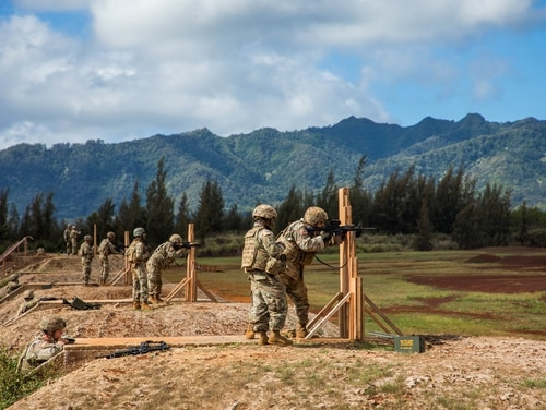 25th Infantry Division soldiers fire at a range at Schofield Barracks, Hawaii. (Sgt. Sarah D. Sangster/Army)