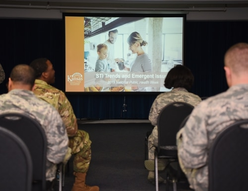 Service members attend a briefing on sexually transmitted infections April 5, 2019, at McConnell Air Force Base, Kan. (Airman 1st Class Alexi Myrick/Air Force)