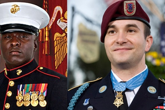 Retired Marine Gunnery Sgt. and Navy Cross recipient Aubrey McDade (left) and retired Army Staff Sgt. and Medal of Honor recipient Sal Giunta will be speaking at the inaugural